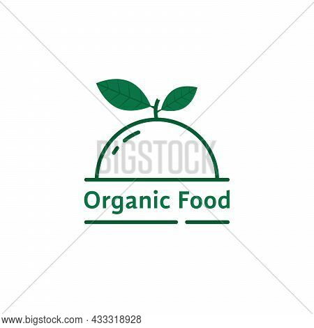 Organic Food Icon With Green Leaves. Flat Stroke Style Trend Modern Eco Meal Logo Graphic Art Design