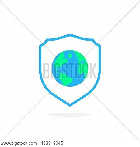 Earth In Shield Like Global Security Icon. Concept Of Protection Of International Business. Flat Car