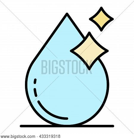 Shiny Filtered Water Drop Icon. Outline Shiny Filtered Water Drop Vector Icon Color Flat Isolated