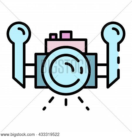Underwater Camera Icon. Outline Underwater Camera Vector Icon Color Flat Isolated