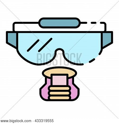Snorkeling Mask Icon. Outline Snorkeling Mask Vector Icon Color Flat Isolated