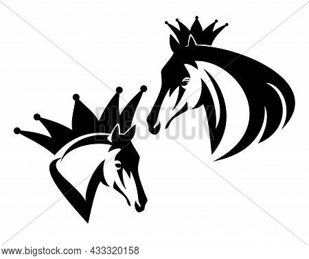 Wild Mustang Stallion Wearing King Crown - Royal Champion Horse Profile Head Black And White Vector