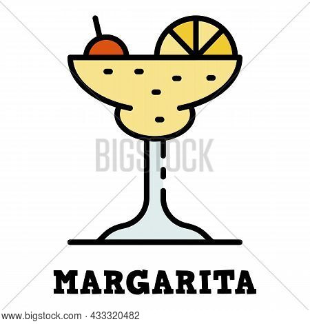 Margarita Glass Icon. Outline Margarita Glass Vector Icon Color Flat Isolated