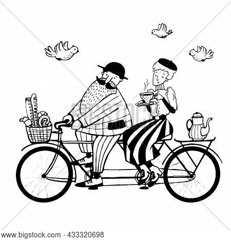 Man And Woman Riding Tandem Bicycle, Ink Art Illustration, Vector Vintage Clipart With Cartoon Chara