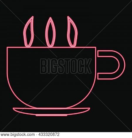 Neon Cup With Hot Tea Or Coffe Red Color Vector Illustration Flat Style Light Image
