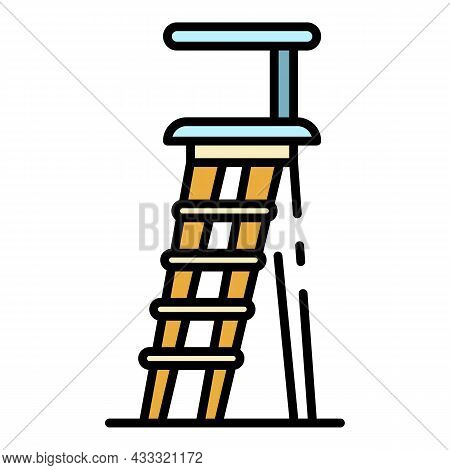 Wood Staircase Icon. Outline Wood Staircase Vector Icon Color Flat Isolated
