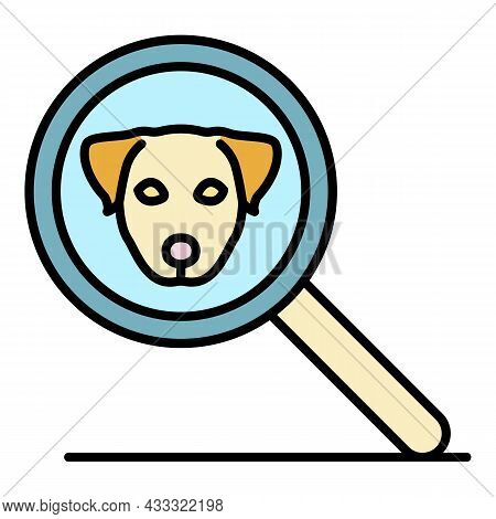 Magnify Glass Dog Icon. Outline Magnify Glass Dog Vector Icon Color Flat Isolated