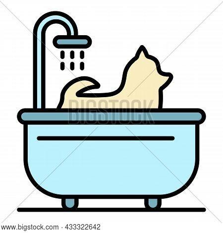 Dog Take A Bath Icon. Outline Dog Take A Bath Vector Icon Color Flat Isolated