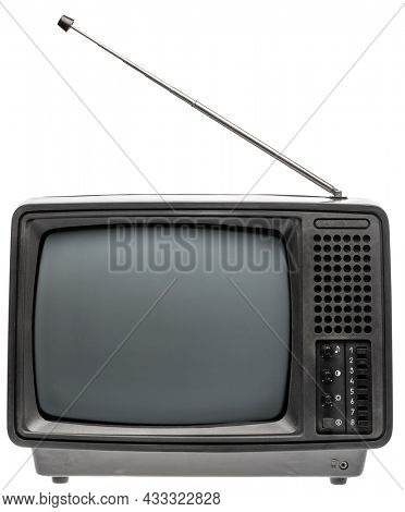 Vintage portable black and white TV receiver isolated on white background. Retro technology concept