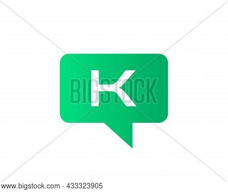 Chat Logo On K Letter Concept. Letter K Chat Logo. Letter K Communication Logo Design Template