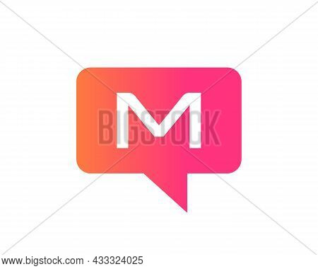 Chat Logo On M Letter Concept. M Letter With Speech Bubble Logo. Letter M Communication Logo Design