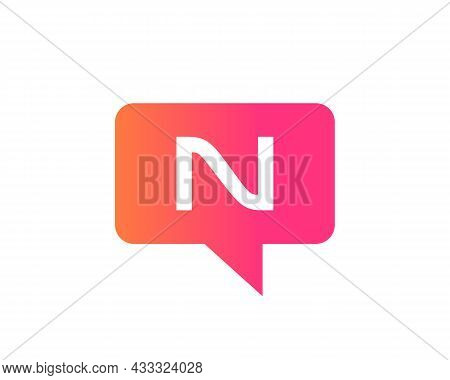 Chat Logo On N Letter Concept. Letter N Chat Logo. Letter N Communication Logo Design Template