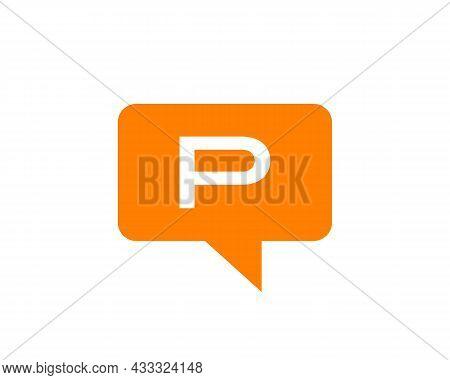 Chat Logo On P Letter Concept. Letter P Chat Logo. Letter P Communication Logo Design Template