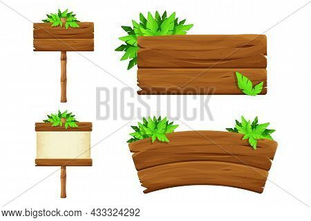 Set Wooden Signboard With Tropical Leaves In Cartoon Style, Empty Jungle Signpost Isolated On White