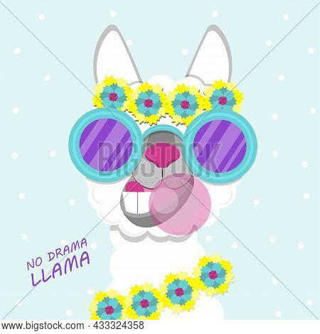 Funny Lama Alpaca Portrait On Pink Background. Flat Image Of Cute And Funny Animal.