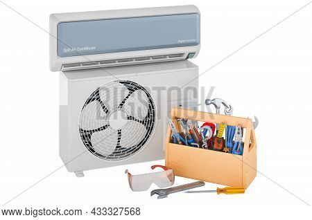 Air Conditioner With Toolbox. Repair And Tech Support Of Air Conditioners Concept, 3d Rendering Isol