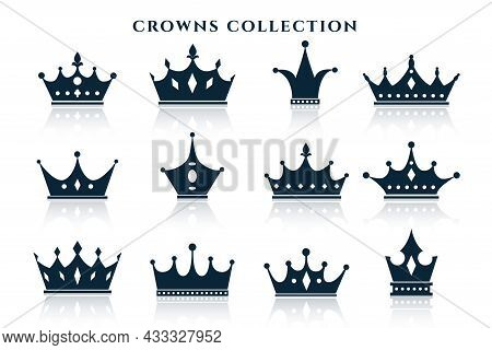 Big Set Of Crowns In Different Styles Vector Design Illustration