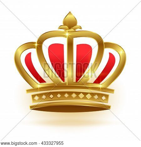 Realistic Golden Crown For King Or Queen Vector Design Illustration