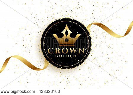 Luxury Golden Crown Background With Ribbon Vector Design Illustration