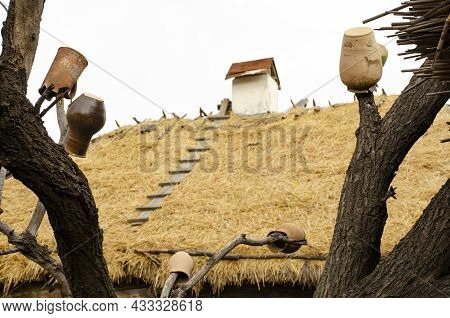 Old Wooden Ladder On The, Covered With Straw Roof. Wooden Staircase To The Roof Of An Old House, Sta