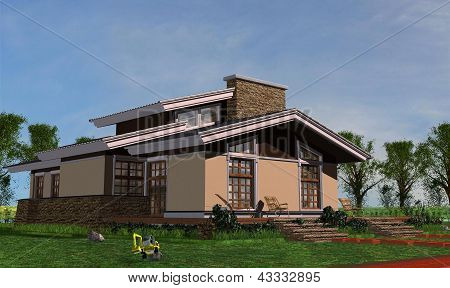 One-storey house for a family