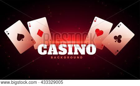 Casino Background With Ace Cards Vector Design Illustration