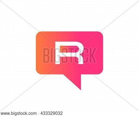Chat Logo On R Letter Concept. Letter R Chat Logo. Letter R Communication Logo Design Template