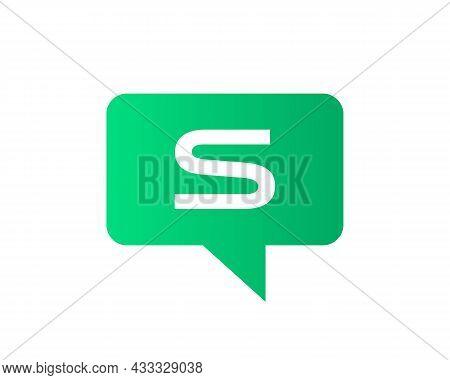 Chat Logo On S Letter Concept. Letter S Chat Logo. Letter S Communication Logo Design Template