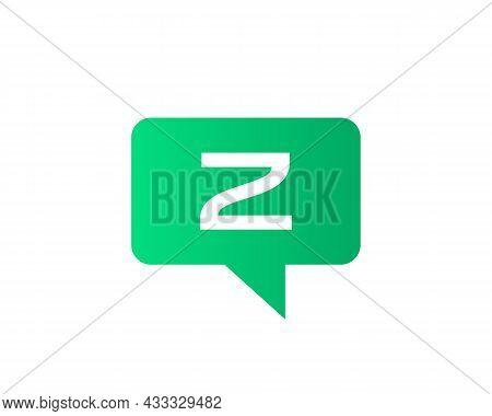 Chat Logo On Z Letter Concept. Letter Z Chat Logo. Letter Z Communication Logo Design Template