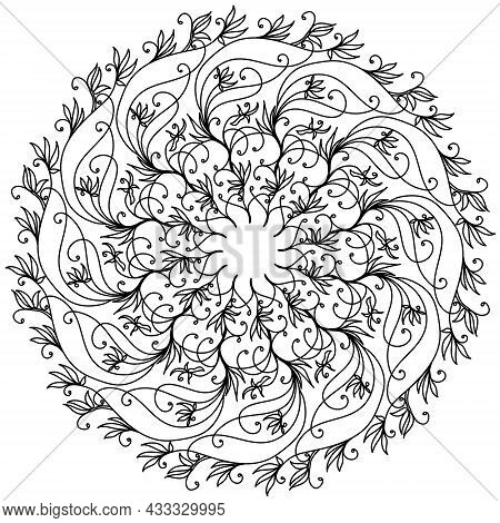 Abstract Tangled Mandala With Swirls And Doodle Flowers, Meditative Coloring Page And Ornate Swirls