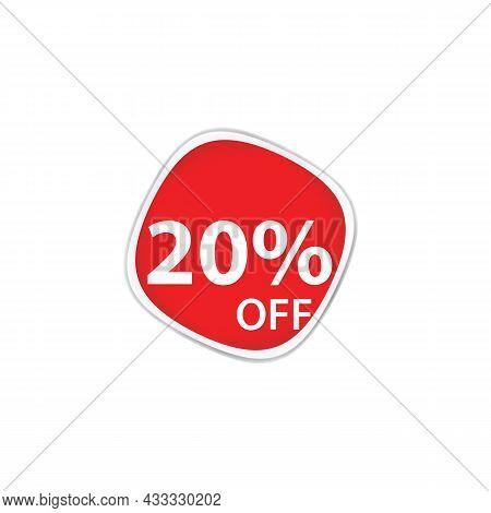 20 Percent Discount, Sales Vector Badges For Labels, Percent Sale Label Symbols, Tags, Web Stickers,