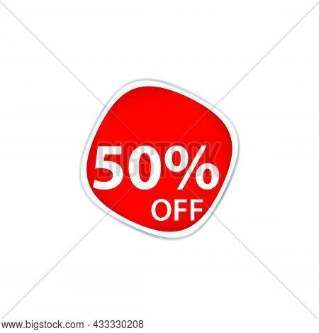 50 Percent Discount, Sales Vector Badges For Labels, Percent Sale Label Symbols, Tags, Web Stickers,