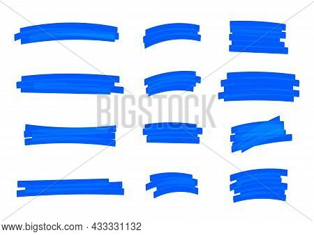 Highlight Stripes Blue Color, Banners Drawn With Markers, Blue Highlight Stripe Marker Stroke, Hand