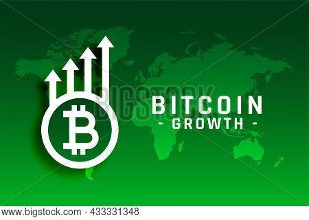Bitcoin Growth Concept With Upward Arrow Vector Design Illustration