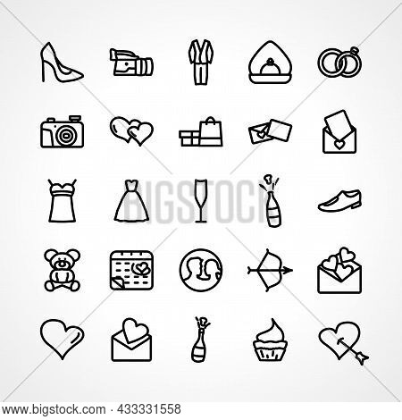 Love Icon Set With Love Couple, Love Message Line Icon