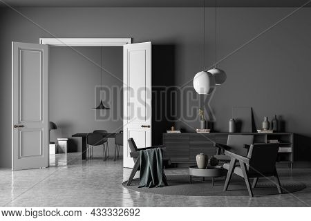 Dark Living Room Interior With Three Armchairs, Chairs, Table, Carpet, Doors, Coffee Table, Sideboar