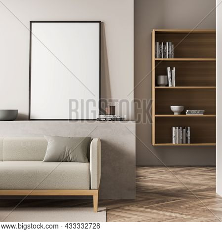 Empty Standing Canvas On The Basement Ledge Of The Beige Living Room. Interior With A Sofa And A Pas