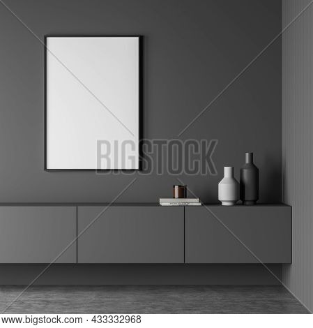 Dark Living Room Interior With White Empty Poster, Sideboard And Concrete Floor. Concept Of Minimali