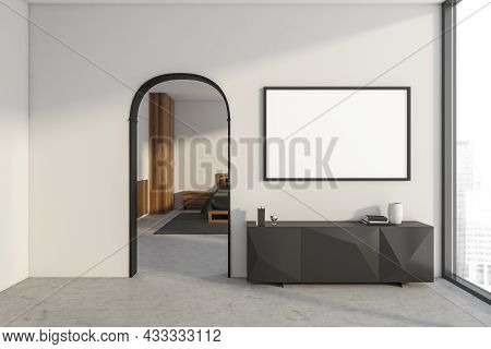 Bright Bedroom Interior With Empty White Poster, Sideboard, Arch, Panoramic Window, Large Bed, Bedsi