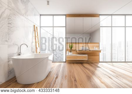 Front View On Bright Bathroom Interior With Bathtub, Oak Wooden Floor, Panoramic Window With Singapo