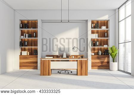 Office Room Interior With Panoramic Window With City Skyscraper View, Desktop, Armchair, White Wall,