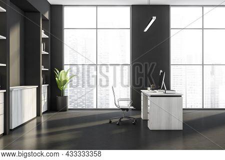 Side View On Dark Office Interior With Panoramic Window With City Skyscraper View, Desktop, Armchair