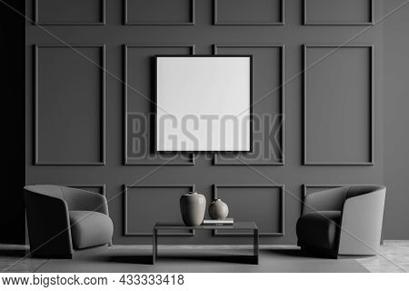 Dark Grey Living Room Interior With Wall Moulding, An Empty Square Canvas, Two Armchairs, A Coffee T