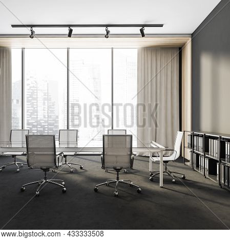 Side View On Dark Office Room Interior With Empty Grey Wall, Panoramic Window, Large Table, Six Armc
