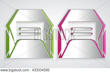 Paper Cut Envelope Icon Isolated On Grey Background. Received Message Concept. New, Email Incoming M