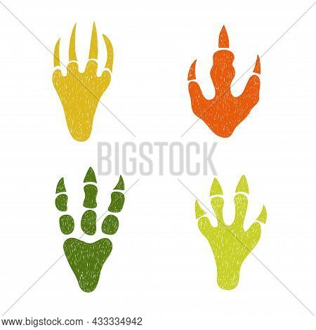 Dinosaur Footprint Set. Doodle Colorful Vector Illustration Of Dinosaur Paws With Claws.
