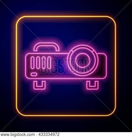 Glowing Neon Presentation, Movie, Film, Media Projector Icon Isolated On Black Background. Vector
