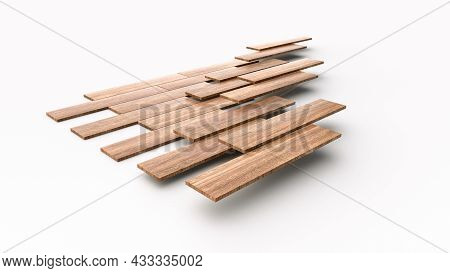 Wood Flooring Installation Fixing Parquets On Floor About Construction 3d Illustration, 3d Rendering