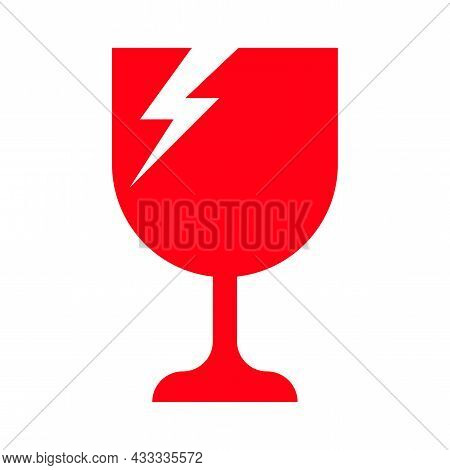 Broken Glass Red For Fragile Symbol, Broken Glass Icon