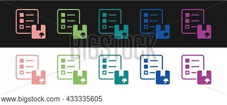 Set Verification Of Delivery List Clipboard Icon Isolated On Black And White Background. Vector